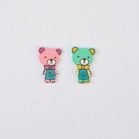 Фигурка деревянная Цветные Медвежата